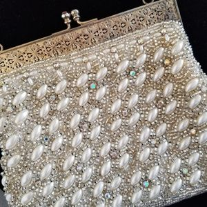 Vintage 50s beaded evening bag handbag